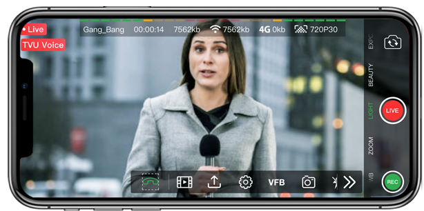 Activate Voice over ip on mobile live video and streaming app