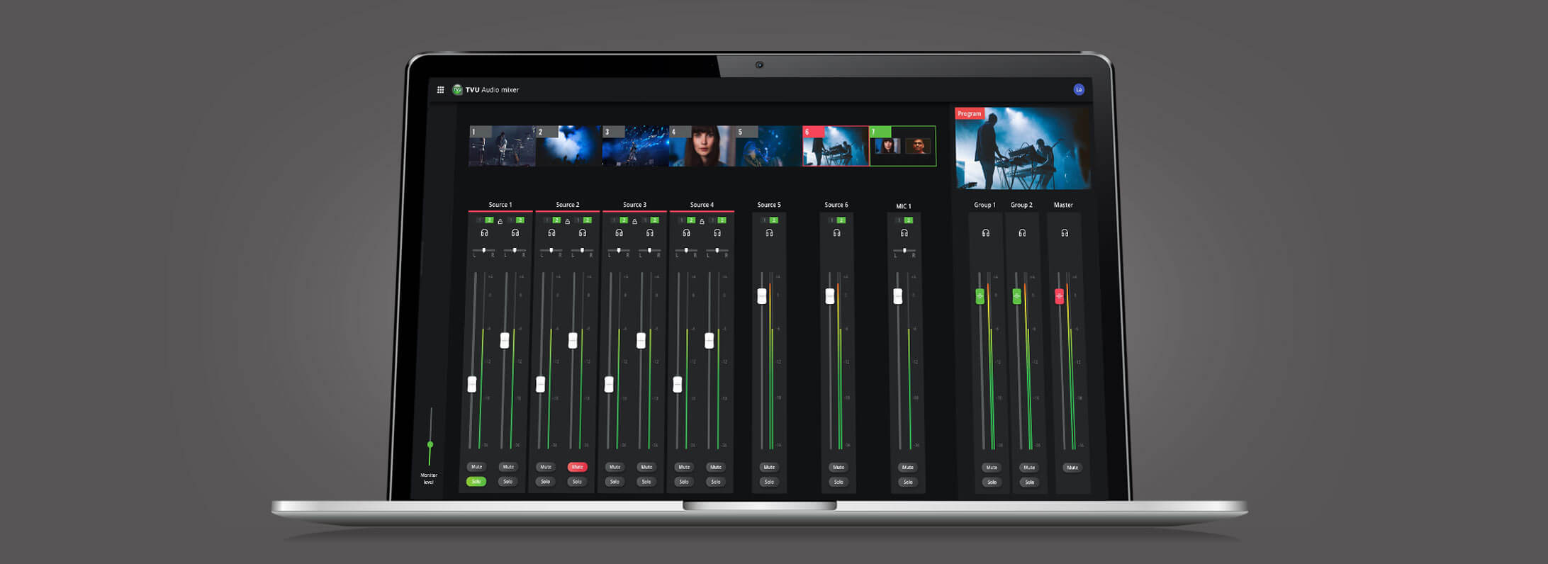 Cloud-based live video production software with professional audio mixer
