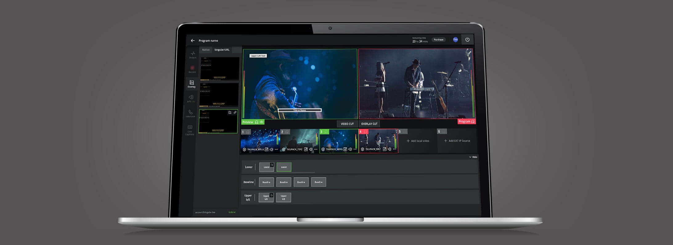 Cloud-based live video production software with live editing and graphics overlays