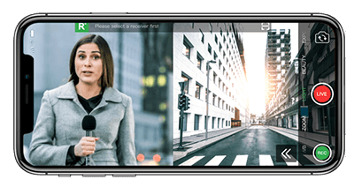 Mobile Live Video Transmission Split screen streaming with TVU Anywhere mobile app